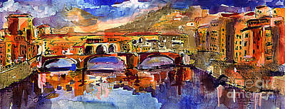 Painting - Florence Ponte Vecchio Merchant Bridge by Ginette Callaway