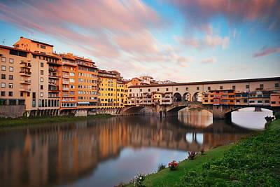 Photograph - Florence Ponte Vecchio Sunrise by Songquan Deng