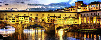 Photograph - Florence - Ponte Vecchio Sunset From The Oltrarno - Vintage Version by Weston Westmoreland
