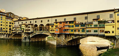 Photograph - Florence - Ponte Vecchio Sunset - Untextured by Weston Westmoreland