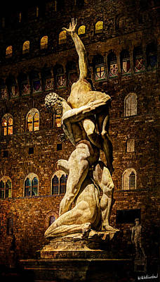 Photograph - Florence - Sabine Against The Palazzo Vecchio - Vintage Version by Weston Westmoreland