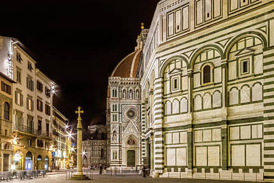 Florence Saint Mary Of The Flowers And Baptistery In The Evening Art Print by Melanie Viola