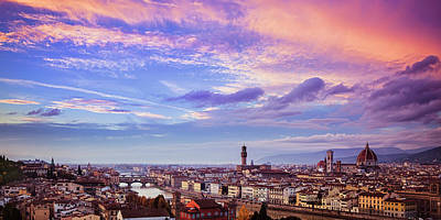 Florence Skyline At Sunset Art Print by Andrew Soundarajan