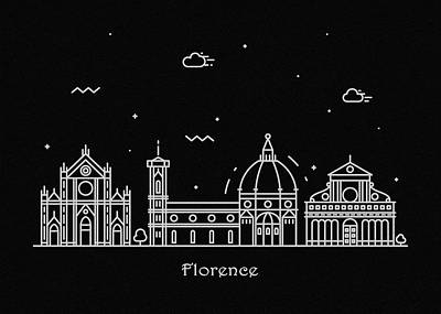 Abstract Landscape Drawing - Florence Skyline Travel Poster by Inspirowl Design