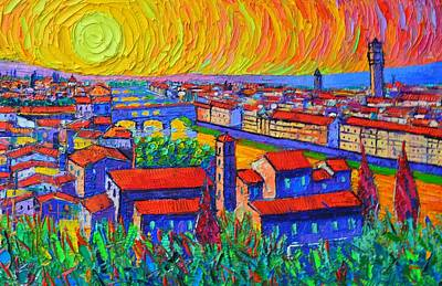 Painting - Florence Sunset 4 Modern Impressionist Abstract City Impasto Knife Oil Painting Ana Maria Edulescu by Ana Maria Edulescu