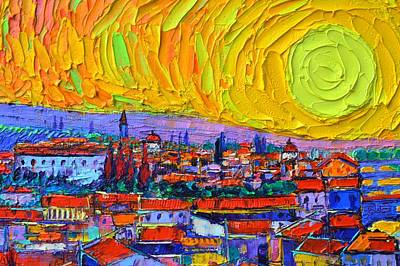 Painting - Florence Sunset 5 Modern Impressionist Abstract City Impasto Knife Oil Painting Ana Maria Edulescu by Ana Maria Edulescu