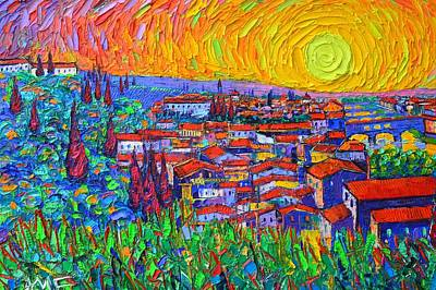 Painting - Florence Sunset 7 Modern Impressionist Abstract City Impasto Knife Oil Painting Ana Maria Edulescu by Ana Maria Edulescu