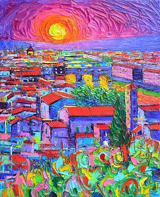 Painting - Florence Sunset Over Ponte Vecchio Abstract City Impressionism Knife Oil Painting Ana Maria Edulescu by Ana Maria Edulescu