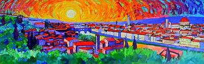 Painting - Florence Sunset Panorama Abstract Cityscape Impasto Palette Knife Oil Painting By Ana Maria Edulescu by Ana Maria Edulescu