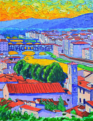 Painting - Florence Sunset Work In Progress 2 by Ana Maria Edulescu