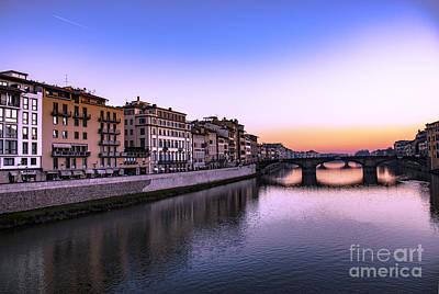 Photograph - Florence Or Firenze, Ponte Santa Trinita Medieval Bridge Landmark On Arno River And A Boat, Sunset L by Svetlana Batalina