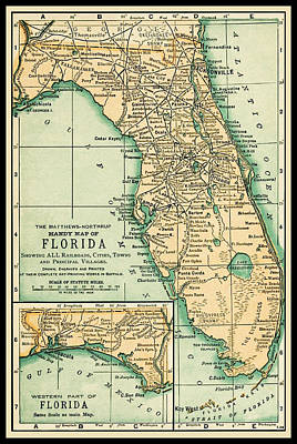 Photograph - Florida Antique Map 18914 by Phil Cardamone