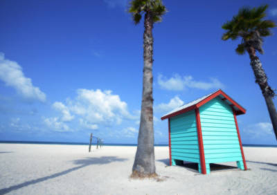 Florida Beach Dressing Room Art Print