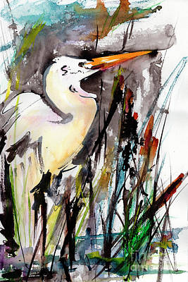 Painting - Florida Birds Great White Egret by Ginette Callaway