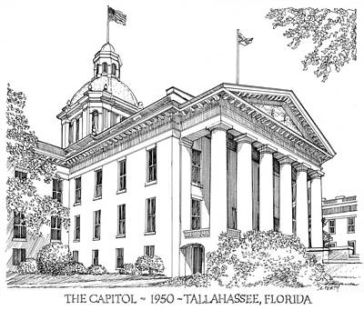 Drawing - Florida Capitol 1950 by Audrey Peaty