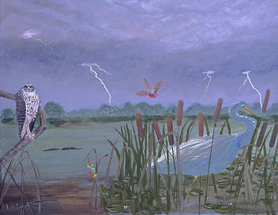 Tree Frog Painting - Florida Everglades Thunderstorm by Ken Figurski