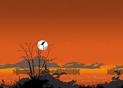 Abstract Beach Landscape Digital Art - Greeting Card - Florida Everglades Tropical Birds Orange Sunset by Walt Curlee