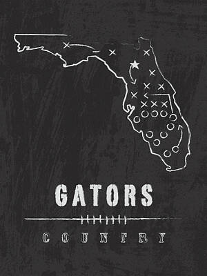 Florida Gators / Ncaa College Football Art / Gainesville Art Print by Damon Gray