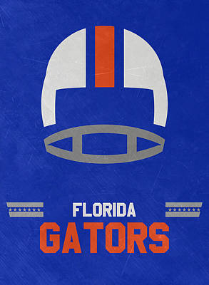Ncaa Mixed Media - Florida Gators Vintage Football Art by Joe Hamilton