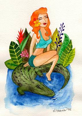 Florida Gators Painting - Florida Girl And Her Gator by Heather Torres