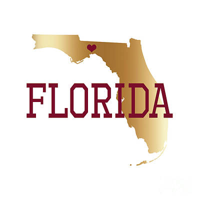 Digital Art - Florida Gold And Garnet With State Capital Typography by Leah McPhail