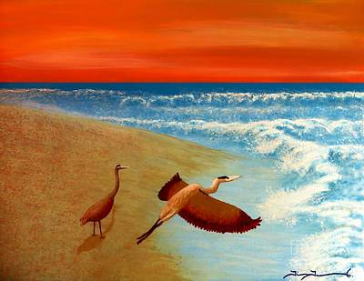 Painting - Florida Heron At Sunrise by Tim Townsend