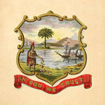 1876 Digital Art - Florida Historical Coat Of Arms Circa 1876 by Serge Averbukh