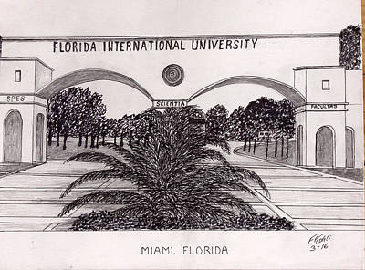 Drawing - Florida International University by Frederic Kohli