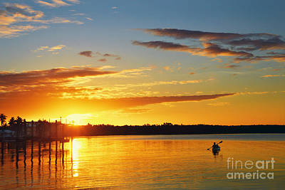 Photograph - Florida Kayaker At Sunset by Catherine Sherman