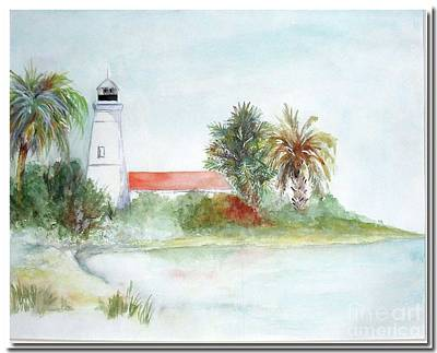 Art Print featuring the painting Florida Lighthouse by Sibby S