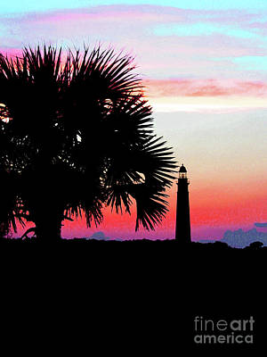 Photograph - Florida Lighthouse Sunset Silhouette by Ron Tackett