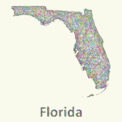 Florida Drawing - Florida Line Art Map by David Zydd