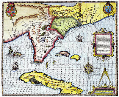 Photograph - Florida: Map, 1591 by Granger