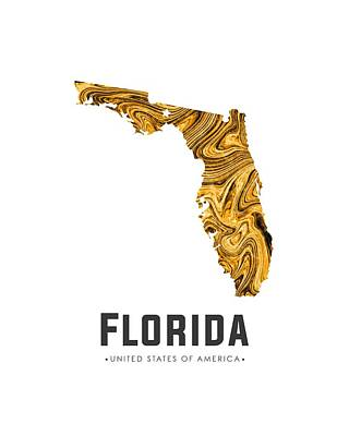 Florida Map Art Abstract In Yellow Gold Art Print