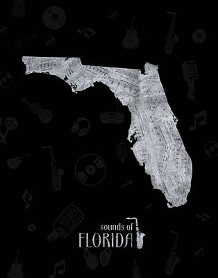 Music Royalty-Free and Rights-Managed Images - Florida Map Music Notes 2 by Bekim Art