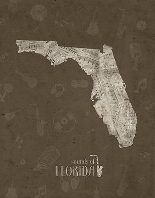 Music Royalty-Free and Rights-Managed Images - Florida Map Music Notes 3 by Bekim Art