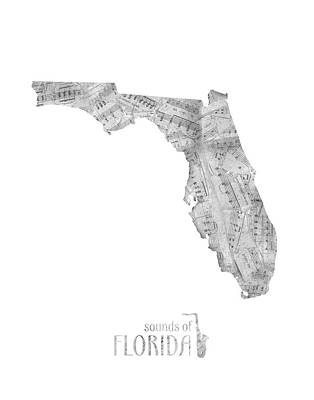 Music Royalty-Free and Rights-Managed Images - Florida Map Music Notes by Bekim Art
