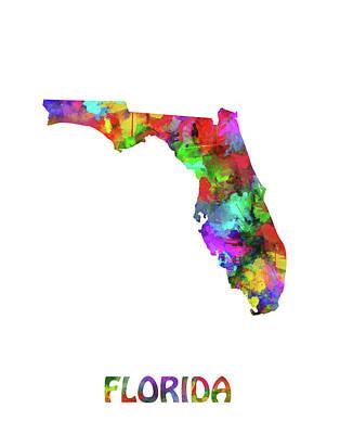 Watercolor Map Digital Art - Florida Map Watercolor by Bekim Art