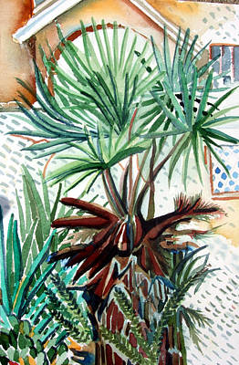 Tropical Drawing - Florida Palm by Mindy Newman