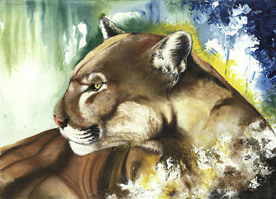 Mixed Media - Florida Panther  by Anthony Burks Sr