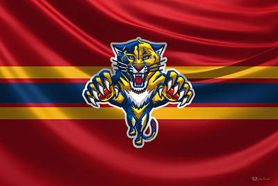 Hockey Art Digital Art - Florida Panthers - 3 D Badge Over Silk Flag by Serge Averbukh
