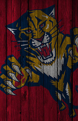 Panther Digital Art - Florida Panthers Wood Fence by Joe Hamilton