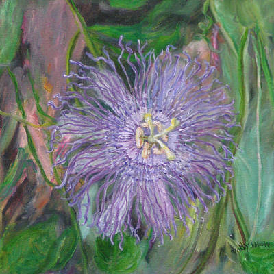 Passion Flower Vine Painting - Florida Passion Flower Vine by Patty Weeks