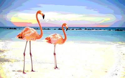 Florida Pink Flamingos Art Print by Charles Shoup