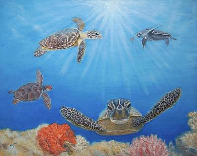 Painting - Florida Sea Turtles by Mike Jenkins