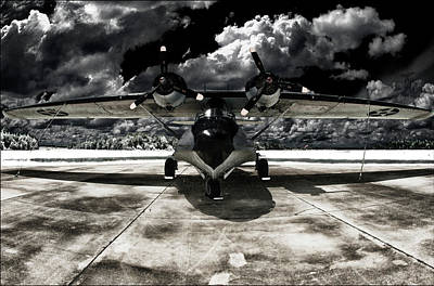 Bath Time Rights Managed Images - Florida Seaplane Pop Art Catalina No.93 Infrared Black Royalty-Free Image by Steven Hlavac