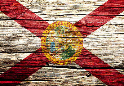 Alligator Mixed Media - Florida State Flag 1w by Brian Reaves
