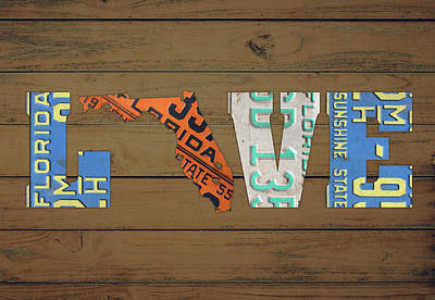 Florida State Wall Art - Mixed Media - Florida State Love Heart License Plates Art Phrase by Design Turnpike