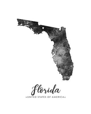 Geography Mixed Media - Florida State Map Art - Grunge Silhouette by Studio Grafiikka