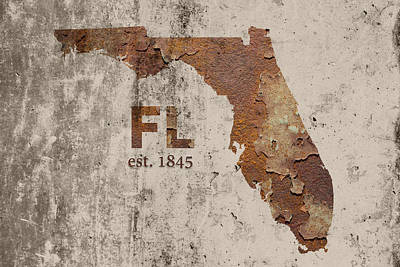 Florida State Map Industrial Rusted Metal On Cement Wall With Founding Date Series 029 Art Print by Design Turnpike
